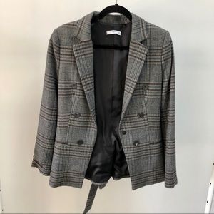 Mango Check Blazer with belt